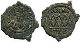 BYZANTINE.Phocas, AE follis. Thessalonica. AD 602-610. DM FOCA PERP AVG, crowned and mantled bust facing, holding mappa and cross. / Large XXXX, ANNO ...