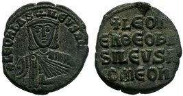 BYZANTINE.Leo VI, AE Follis, Constantinople. LEON bASILEVS ROM, crowned bust facing with short beard, wearing chlamys, holding akakia / LEON EN QEO BA...