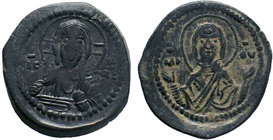 BYZANTINE.Romanus IV, Class G anonymous follis, 1068-1071 AD. IC-XC to left and right of bust of Christ, nimbate, facing, right hand raised, scroll in...