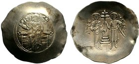 BYZANTINE.John II, 1118-1143 AD. Electrum aspron trachy. Constantinople mint. IC-XC to left and right of Christ seated facing on backless throne, righ...