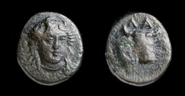 AEOLIS, Larissa Phrikonis, (4th century BCE), AE11. 1.28g, 11mm.