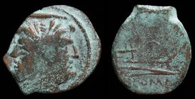 Anonymous AE Reduced As, c. 211-200 BCE. Apulia, 2.35g, 16mm.