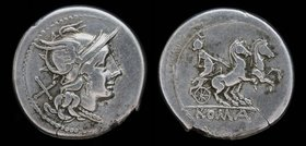 Anonymous AR denarius, issued 179-170 BCE. Rome, 3.80g, 20mm.