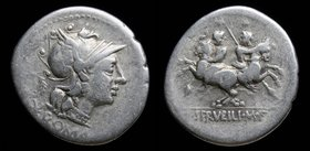 C. Servilius M.f, 136 BCE, AR denarius. Rome, 3.73g, 20mm. 