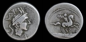 L. Philippus, AR denarius, issued 113-112 BCE. Rome, 3.85g, 19mm.