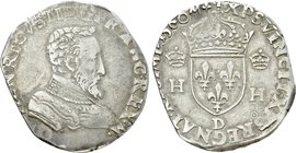 FRANCE. François I (1559-1560) in the Name of Henry II. Teston (1560 - D). Lyon.