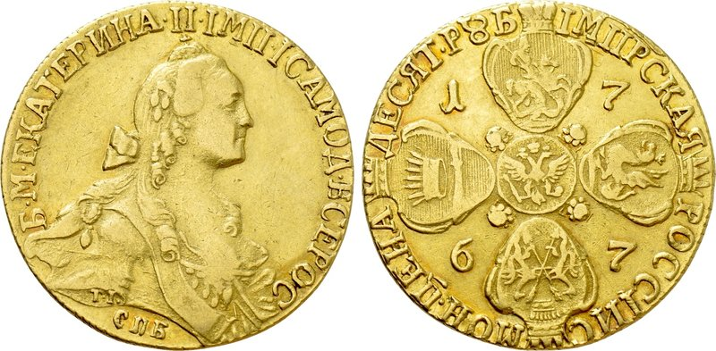 RUSSIA. Catherine II 'the Great' (1762-1796). GOLD 10 Roubles (1767-CПБ). St. Pe...