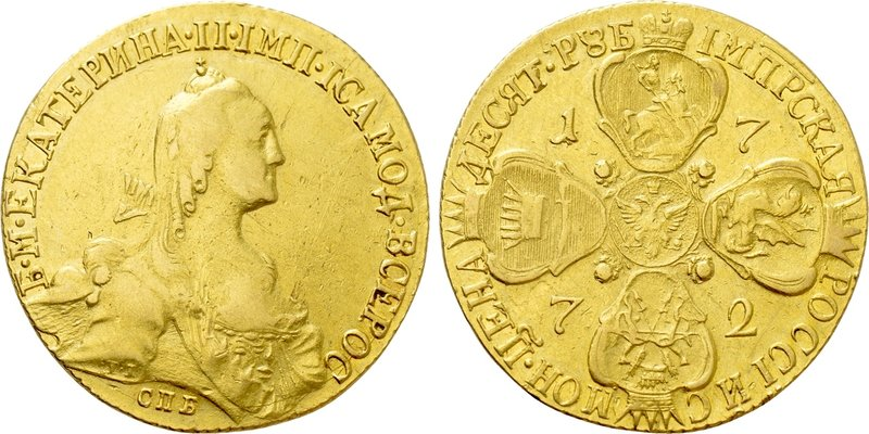 RUSSIA. Catherine II 'the Great' (1762-1796). GOLD 10 Roubles (1772-CПБ). St. Pe...