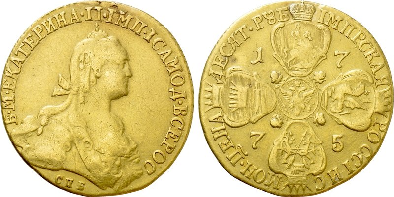 RUSSIA. Catherine II 'the Great' (1762-1796). GOLD 10 Roubles (1775-CПБ). St. Pe...