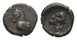 Uncertain mint AR Obol. Circa 4th century BC. Head of horse right / Head of ram right.  Condition: Very Fine  Weight:0,67gr Diameter:7mm