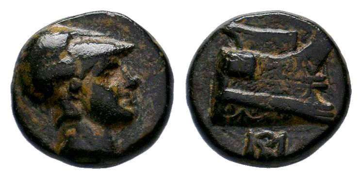 KINGS OF MACEDON. Demetrios I Poliorketes (306-283 BC). Ae. Salamis. Obv: Helmet...