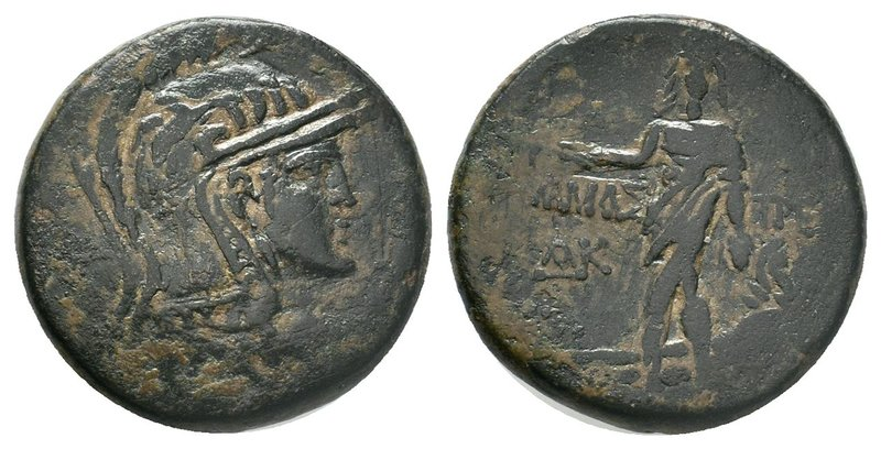 PAPHLAGONIA. Amastris. Ae (Circa 105-85 BC). Obv: Helmeted head of Athena right....