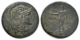 PAPHLAGONIA. Amastris. Ae (Circa 105-85 BC). Obv: Helmeted head of Athena right. Rev: AMAΣ - TPEΩΣ. Perseus standing left, holding harpa and head of M...