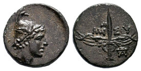 PONTOS. Amisos. Ae (85-65 BC). Obv: Head of Perseus right, wearing a winged helmet. Rev: AMI-ΣOY. Winged harpa; monogram right. SNG Copenhagen 160.   ...