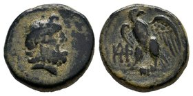 KINGS of GALATIA. Deiotaros. Circa 62-40 BC. Æ . Laureate head of Zeus right / Eagle standing left, head right, on thunderbolt; monogram to left. E.T....