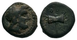 Caria. Orthosia circa 200-0 BC. Laureate head of Zeus right / Ο-Ρ-ΘΩΣ-ΙΕΩΝ, Δ-H to left and right of labrys. Legend: Orthosia stood on high ground ove...