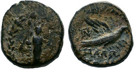 CILICIA. Mallos. AE. Obv: Facing statue of Athena Megarsis within wreath. Rev: MAΛΛΩTΩN. Eagle flying right; monogram to upper left. SNG Levante 1264;...