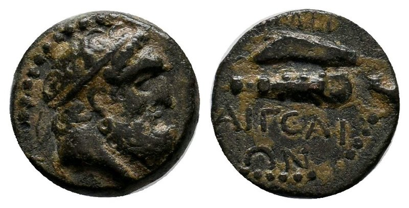 CILICIA, Aigeai. Circa 164-27 BC. Æ. Diademed head of Hercules right / Club abov...