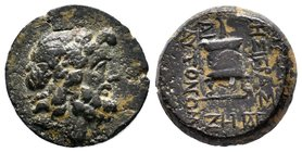 Cilicia, Mopsos. AE . Laureate head of bearded Zeus right / [M]OΨEATΩN / THΣ ΙΕΡΑΣ - ΚΑΙ / ΑΥΤΟΝΟΜ[ΟΥ] , ethnic vertically downwards to right and left...