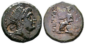 Soli, Cilicia, AE26, 10.47g. Radiate head of Helios right (AE monogram behind head) / ΣOΛEΩN, Athena seated left, holding Nike, resting left arm on sh...