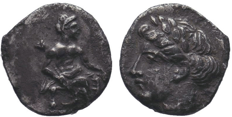 Cilicia, Mallos AR Obol. 375-360 BC. Aphrodite seated right / Head of Female lef...