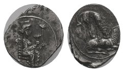 Cilicia, Myriandros AR Obol. Mazaios, Satrap of Cilicia, 361-334 BC. The Great King of Persia, wearing crown and elaborate robes covered with rings, s...