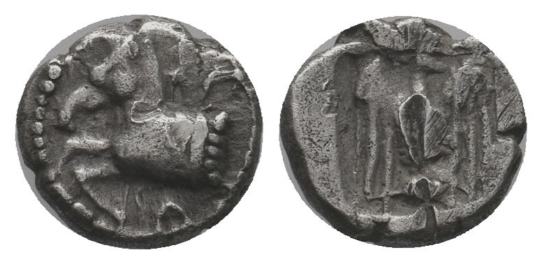 KINGS OF THRACE. Sparadokos, circa 464-444 BC. Diobol . Forepart of horse to lef...