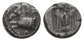 KINGS OF THRACE. Sparadokos, circa 464-444 BC. Diobol . Forepart of horse to left. Rev. Eagle flying left, holding serpent in its beak. Peykov B0040. ...