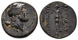 SELEUKID KINGDOM. Alexander I Balas (152-145 BC). Ae. Antioch on the Orontes. Obv: Helmeted head of Alexander I right. Nike standing left, holding wre...