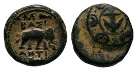 SELEUKID KINGS of SYRIA. Antiochos I Soter. 281-261 BC. Æ. Antioch mint. Anchor on boss of Macedonian shield / Elephant standing right; monogram and [...