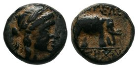 SELEUKID KINGS of SYRIA. Antiochos III. 223-187 BC. Æ. Sardes mint. Laureate head of Apollo right / Elephant advancing left; upturned anchor before. S...