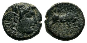 SELEUKID KINGS OF SYRIA. Seleukos I (312-281 BC). Ae. Antioch.  Condition: Very Fine  Weight: 3.25gr Diameter: 20.09mm  From a Private UK Collection.