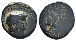 Nero (54-68). Pisidia, Antioch. Æ (19mm, 6.39g, 12h). Laureate head r. R/ Eagle standing facing, head l., between two standards. RPC I 3532. Very Rare...