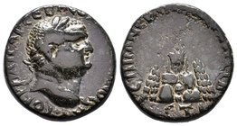 CAPPADOCIA, Caesaraea-Eusebia. Vespasian. AD 69-79. Æ . Dated RY 10 (AD 77/8). Laureate head right / Mt. Argaeus; on summit, radiate figure standing l...