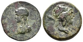 Aigeai (AD 68/69) AE 27. Pseudo-autonomous, 68-69 AD. AE (13.83g). Bust Perseus with Hapa over shoulder right, Helm like big Gorgoneion / AIGEWN EIR, ...
