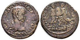 Cilicia, Anazarbus. Diadumenian. As Caesar, A.D. 217-218. AE . M OΠ ANTΩNINOC ΔIAΔOVMENIANOC K, bare-headed, draped and cuirassed bust right / ANAZAPB...