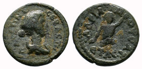 CILICIA. Mopsus. Faustina Jr., wife of Marcus Aurelius. Augusta, 145-175 AD. Æ . Dated year 230 (162/3 AD). Draped bust right / Upper part of River-go...