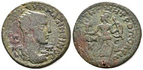 CILICIA, Tarsus. Maximinus I. AD 235-238. Æ . Radiate, draped and cuirassed bust right, seen from behind / Athena advancing right, head turned left, h...