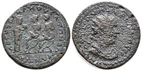 CILICIA, Mopsus. Valerian I. 253-260 AD. Æ . Dated year 323 (255/6 AD). Radiate, draped, and cuirassed bust right / Tyche standing right, presenting p...