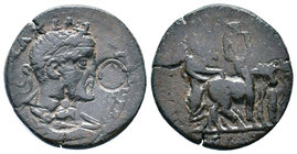 Cilicia. Ninika-Klaudiopolis . Maximinus I Thrax AD 235-238. Laureate and cuirassed bust right, slight drapery / Founder plowing right with bull and o...