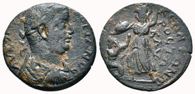 CILICIA, Seleuceia ad Calycadnum. Valerian I. 253-260 AD. Æ. Laureate, draped and cuirassed bust of Gallienus to right, seen from behind. Rev. CЄΛЄYKЄ...