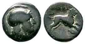 Kings of Thrace. Uncertain Mint. Lysimachos 305-281 BC. AE bronze  Condition: Very Fine  Weight: 5.20 gr Diameter: 18.86 mm