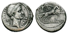 C. Iulius Caesar and M. Mettius. Denarius 44, AR 3.20 g. Wreathed head of Caesar r.; behind, CAESAR [DICT] and lituus; before, QVART. Rev. Juno Sospit...