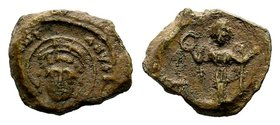 Byzantine Lead Seal 7th - 11th C. AD.  Condition: Very Fine  Weight: 5.38 gr Diameter: 19 mm