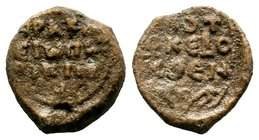Byzantine Lead Seal 7th - 11th C. AD.  Condition: Very Fine  Weight: 14.00 gr Diameter: 27 mm
