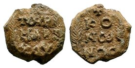 Byzantine Lead Seal 7th - 11th C. AD.  Condition: Very Fine  Weight: 10.42 gr Diameter: 21.57 mm
