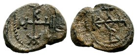 Byzantine Lead Seal 7th - 11th C. AD.  Condition: Very Fine  Weight: 11.61 gr Diameter: 26 mm