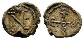 Byzantine Lead Seal 7th - 11th C. AD.  Condition: Very Fine  Weight: 12.85 gr Diameter: 24 mm