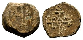 Byzantine Lead Seal 7th - 11th C. AD.  Condition: Very Fine  Weight: 15.35 gr Diameter: 24 mm