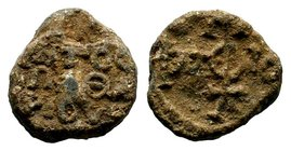 Byzantine Lead Seal 7th - 11th C. AD.  Condition: Very Fine  Weight: 11.28 gr Diameter: 20 mm